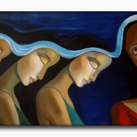 MM019. Maysa Mohammed. Untitled. Oil on Canvas. 100x50 cm