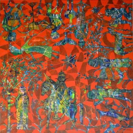 NA01. Nabeel Alsamman. 140x140 cm. Mixed media