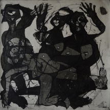 AS015 Alaa Sharabi 150x150 cm Mixed media on canvas 2018