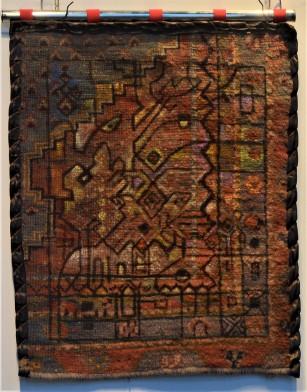 MA009 Mohammed Alolabi A Child in the City 65x70 cm Oil on Carpet