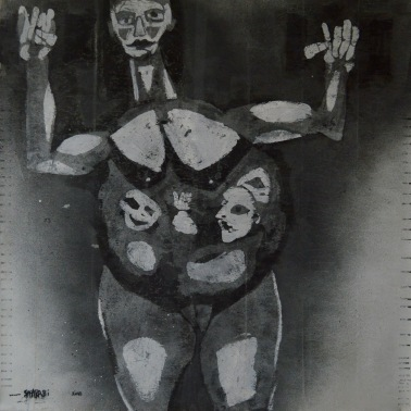 AS010 Alaa Sharabi 150x150 cm Mixed media on canvas 2018