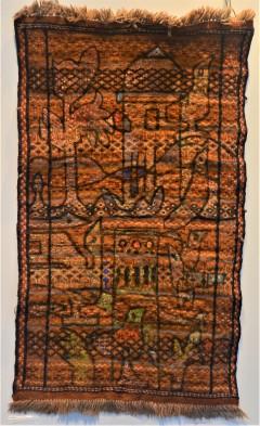 MA010 Mohammed Alolabi Doves Tower 120x60 cm Oil on Handmade Camel Hair Carpet