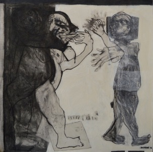 AS022 Alaa Sharabi Leave 150x150 cm Charcoal on canvas 2017