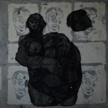 AS020 Alaa Sharabi Womb 150x150 cm Mixed media on canvas 2019