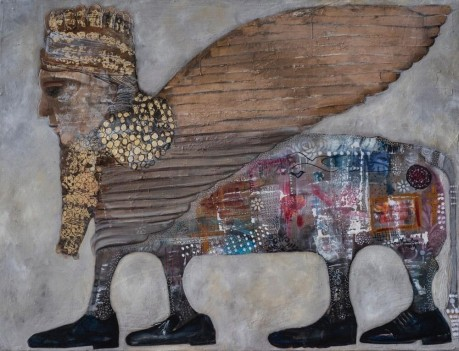 SMB002 Souad Mardem Bey 171x130 cm Oil and Mixed Media on Canvas.