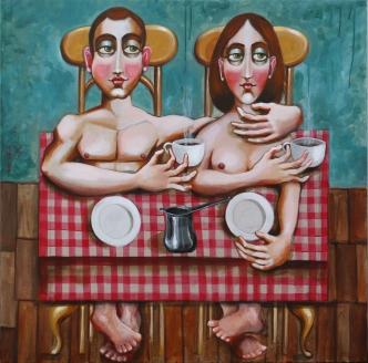 ST005 Samer Tarabichi my grammars coffee acrylic on linen 100 x 100 cm