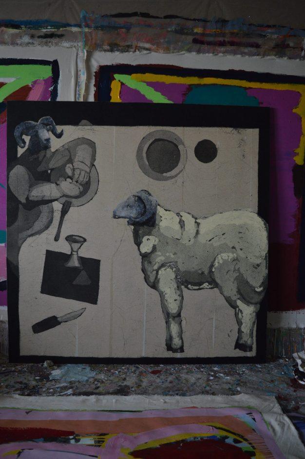 AS027 Alaa Sharabi 150x150 cm Mixed media on canvas