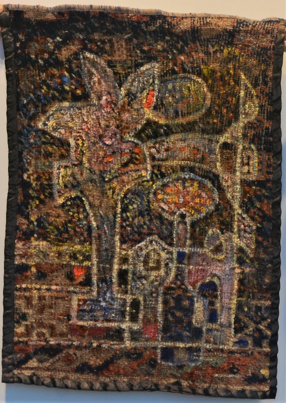 MA013 Mohammed Alolabi Rain in a Moonlight Night 48x68 cm Oil on Shirazi Carpet