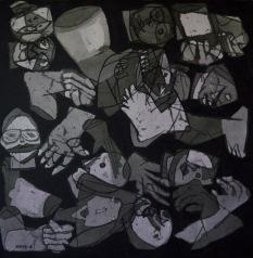 AS008 Alaa Sharabi 150x150 cm Mixed media on canvas 2018