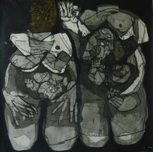 AS013 Alaa Sharabi 150x150 cm Mixed media on canvas 2018