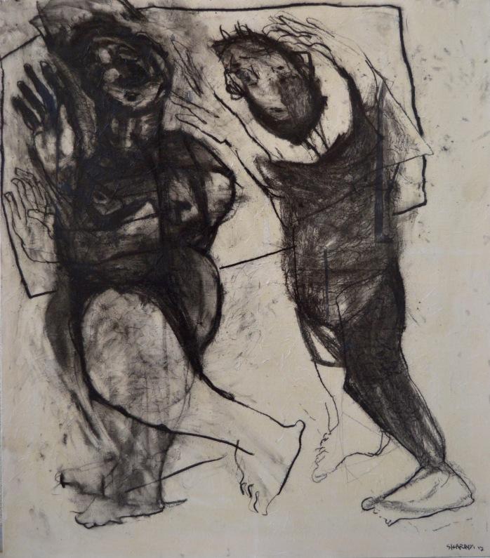 AS023 Alaa Sharabi Leave 160x140 cm Charcoal on canvas 2017