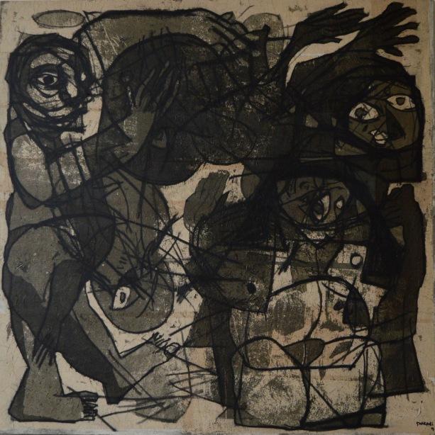 AS014 Alaa Sharabi 150x150 cm Mixed media on canvas 2018