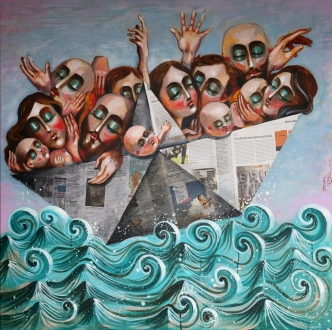 ST006 Samer Tarabichi Humantiy's raft 100x 100 cm mixed media on linen canvas