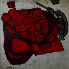 AS019 Alaa Sharabi 150x150 cm Mixed media on canvas 2019
