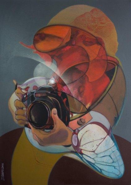 MZ002 Mohammad Zaza The Photographer. Acrylic on canvas, 86 x 120 cm, 2016