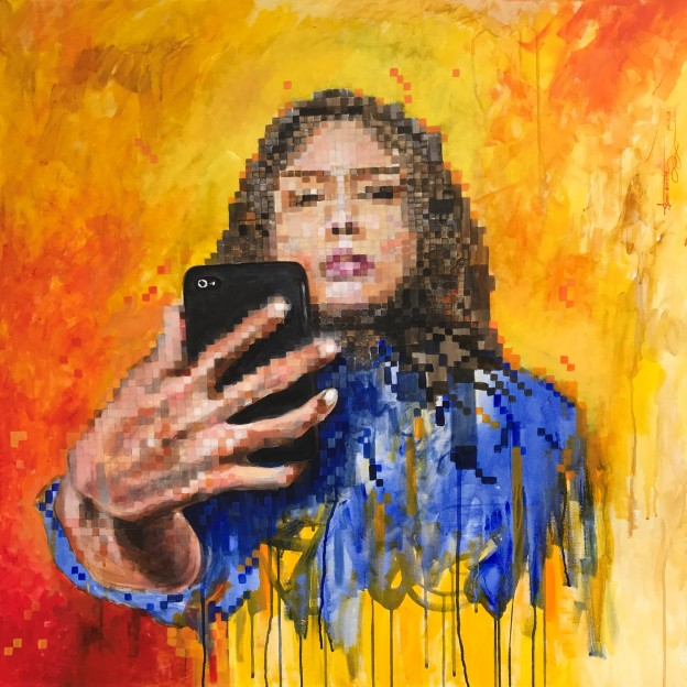 ST010 Samer Tarabichi «Mirror on the phone» 100x100 cm Acrylic on canvas