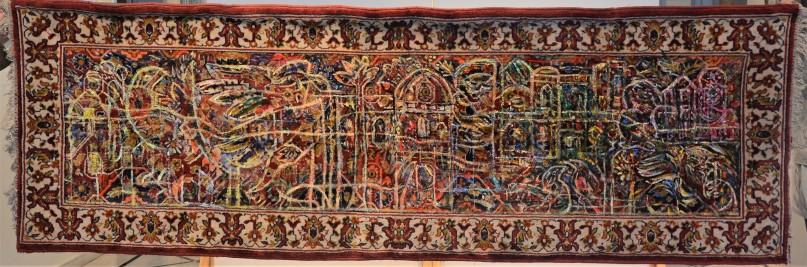 MA001 Mohammed Alolabi Heavens Beat 260x87 cm Oil on an Automated Carpet