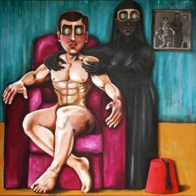 ST004 Samer Tarabichi Our lady of the Tarboosh acrylic on linen canvas 100 x 100 cm