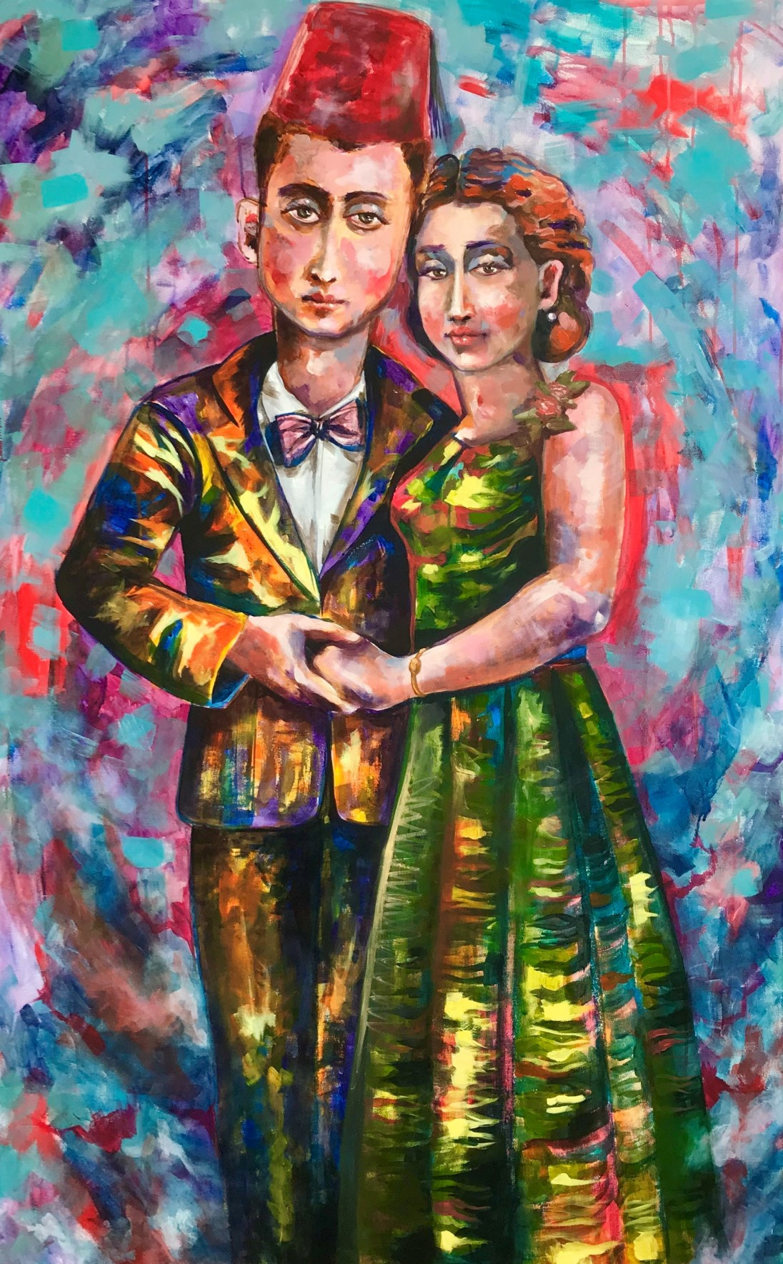 ST012 Samer Tarabichi « From Iskandaroun to Paris ... with love » Tribute to gramma and grappa 100x160 cm Acrylic and oil on canvas