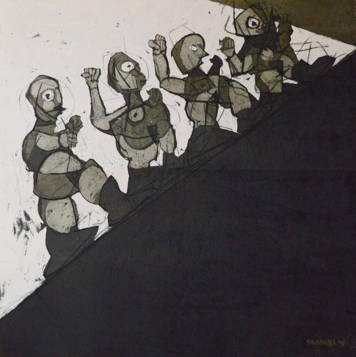 AS026 Alaa Sharabi 150x150 cm Mixed media on canvas