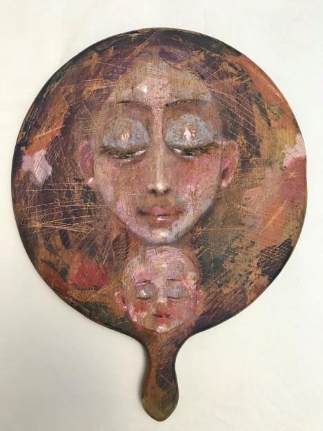 ST011 Samer Tarabichi « Le visage de ma mère » Acrylique et coups de couteau sur une planche à découper Approx 40x50 cm
