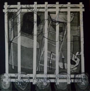 AS007 Alaa Sharabi 150x150 cm Mixed media on canvas 2018