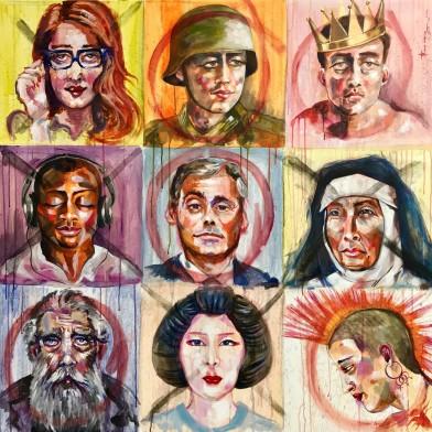 """ST002 Samer Tarabichi """" O X """" 120 x120 cm Acrylic on canvas"""