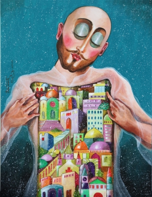 "ST003 Samer Tarabichi "" Th Door of my city "" 116 x 89 cm acrylic on coton canvas"