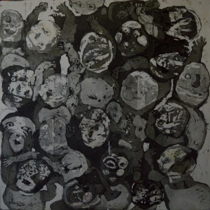 AS011 Alaa Sharabi 150x150 cm Mixed media on canvas 2018