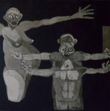 AS009 Alaa Sharabi 150x150 cm Mixed media on canvas 2018