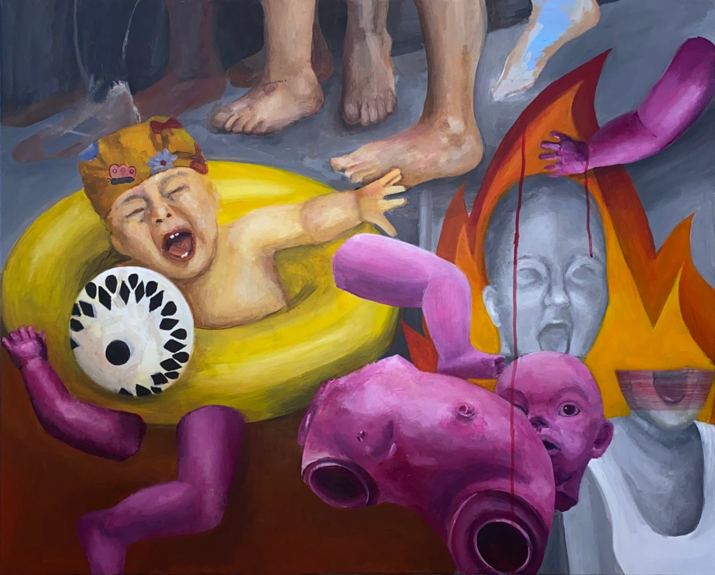 ZK006 I kicked my therapist in the heart- 2020 100x80 cm Acrylic on canvas